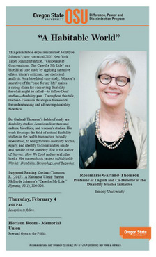 Image of poster for Rosemarie Garland Thomson event
